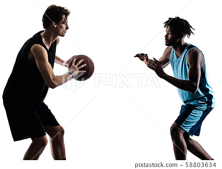 basketball players men isolated silhouette shadow 58803634