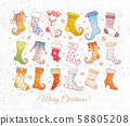 Set of colored doodle christmas gift socks on textured white paper background 58805208