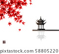 Red japanese maple leaves and pagoda temlple over the water surface. Traditional Japanese ink wash 58805220