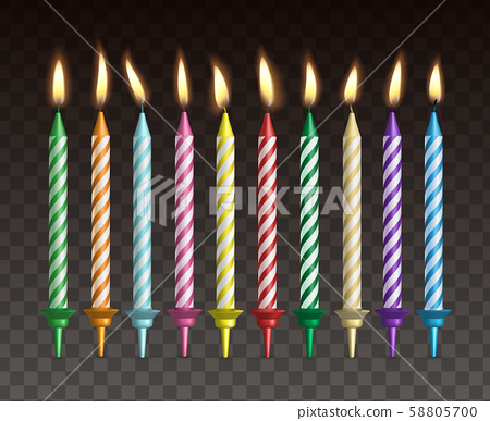 Candles for cake. Realistic vector set of burning colorful striped candles 58805700