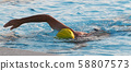 Man swimming in outdoor pool with yellow bathing 58807573
