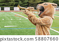 Cougar mascot playing trumpet 58807660