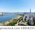 Aerial view of Seoul city with Lotte toweron the background, South Korea 58808293