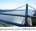 Aerial view of George Washington Bridge in Fort Lee, New Jersey. 58808295