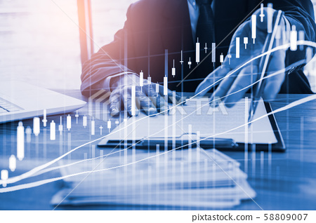 Stock market or forex trading graph and candlestick chart suitable for financial investment concept. Economy trends background for business idea and all art work design. Abstract finance background. 58809007