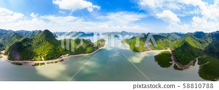Aerial view of Ha Long from Bay Cat Ba island, 58810788