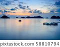 Vietnam Cat Ba bay at sunset with floating fishing 58810794