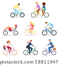 Bicycle vector bikers people character biking on cycle transport illustration set of man woman 58811947