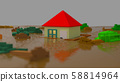 River flooding House submergence Awaiting rescue Flood disaster CG 58814964
