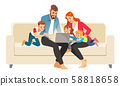 Portrait of a jolly family using a laptop sitting on sofa at home. Vector illustration in cartoon 58818658