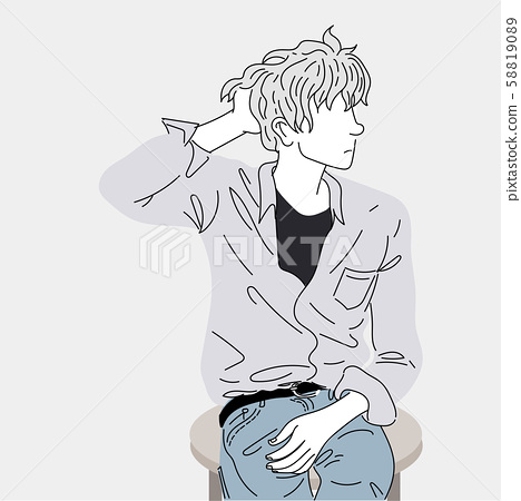Fashion drawing of a man sitting on a chair.Doodle art concept,illustration painting 58819089