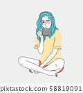 Woman sitting and drinking coffee at her house during the morning time.Doodle art concept,illustration painting 58819091