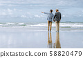 Asian senior couple or elderly people walking and 58820479
