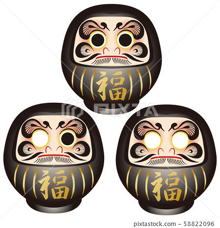 新年賀卡材料黑色達魯瑪安排 58822096