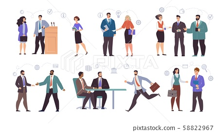 Businesspeople Teams Characters Flat Vector Set 58822967