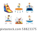 Kids jumping trampoline and slide down hill, set of flat illustration isolated. 58823375