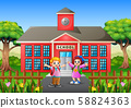 Happy students go to school in the morning 58824363