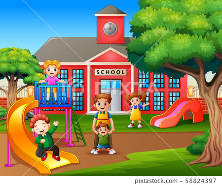 Parent with kids in the school playground 58824397