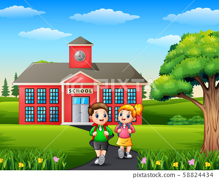 Happy children with backpack on school background 58824434
