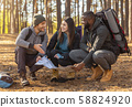 Friends with backpacks sitting around map in forest 58824920