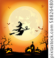 Halloween background with scary pumpkins 58826480