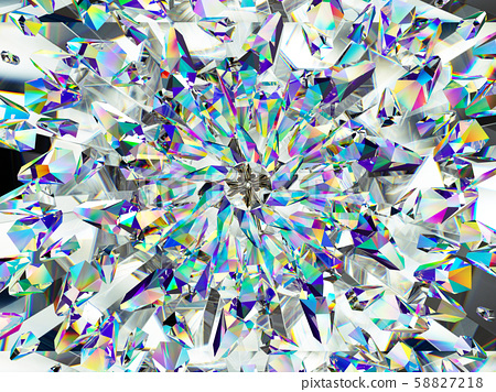 diamond structure extreme closeup and kaleidoscope 58827218