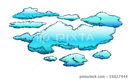 Fluffy Flying Clouds And Overcast Retro Vector 58827444