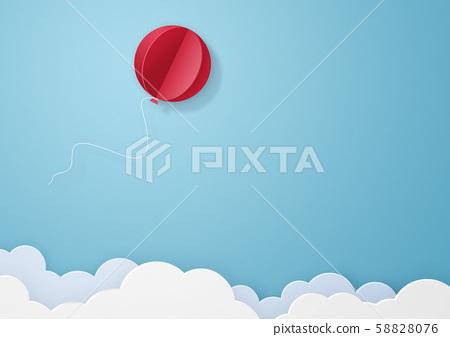 종이 공예 - 하늘 - 구름 - 빨간 풍선 58828076