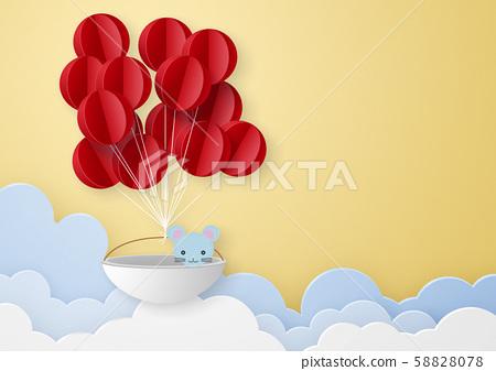 종이 공예 - 하늘 - 구름 - 풍선 - 쥐 58828078