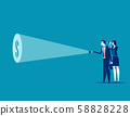 Businessman team with flashlight and searching 58828228