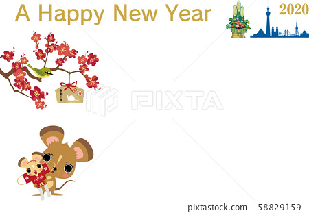 New Year's Card 2020 Mouse Olympics Raise Red 58829159