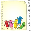 Notepad page with happy wooden crayons 58837449