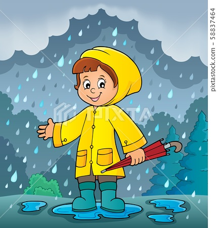 Girl in rainy weather theme image 2 58837464