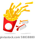 French fries flying out of a box with two sauces 58838880
