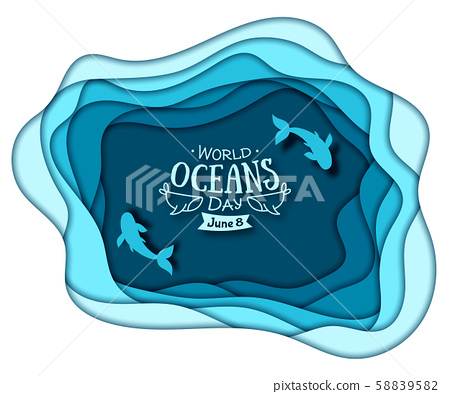 World Oceans Day. Paper art of sea waves and fish 58839582