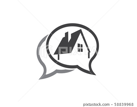 A small green home symbol with window and chimney for logo design illustration in a chat shape icon on white background 58839968