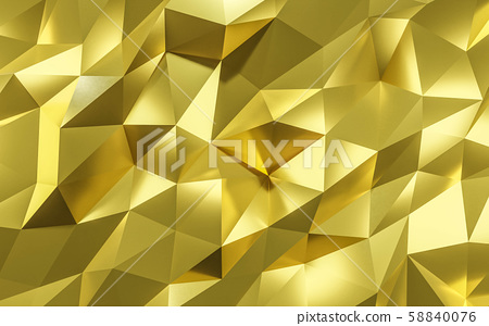 golden abstract polygonal Background Illustration Texture folded paper 3d render 58840076