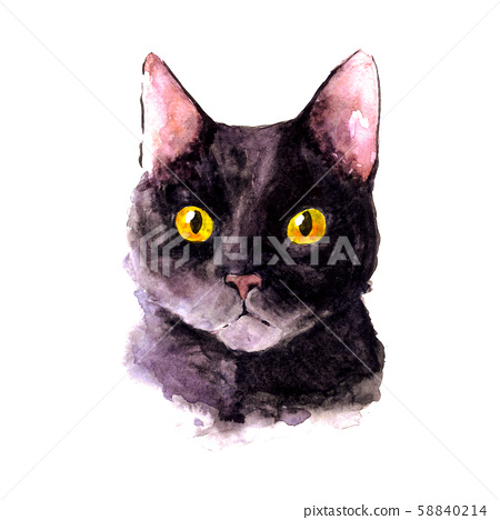 Watercolor portrait of a black cat with yellow eyes 58840214