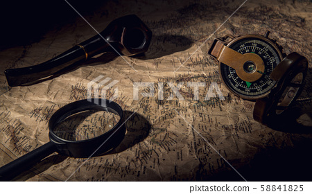 old map with compass 58841825