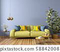 Modern interior of living room with sofa, wooden 58842008