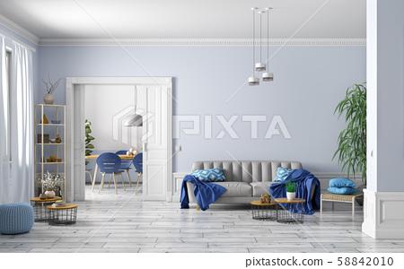 Interior design of modern scandinavian apartment, 58842010