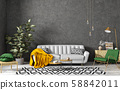 Modern interior of living room with grey sofa, 58842011