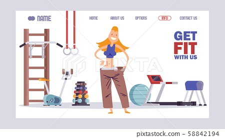 Fitness studio website design, vector illustration. Gym landing page concept, weight loss program 58842194