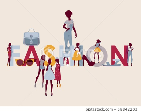 Fashion show event presentation, vector illustration. Wall decoration poster for clothes and 58842203