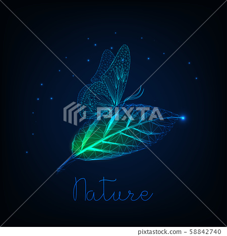 Futuristic glowing low poly butterfly sitting on green leaf and text nature on dark blue background. 58842740