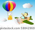 Rabbit and monkey air travel 58842969