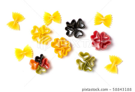 Colorful heart shaped pasta flat lay 58843188