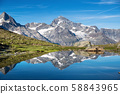 Mountain lake in Switzerland. High mountains region at the day time. 58843965