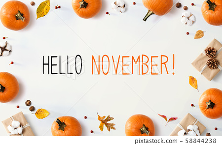 Hello November message with autumn pumpkins with present boxes 58844238