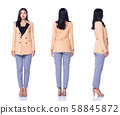 Asian Business Woman Stand in cream Formal Suit 58845872